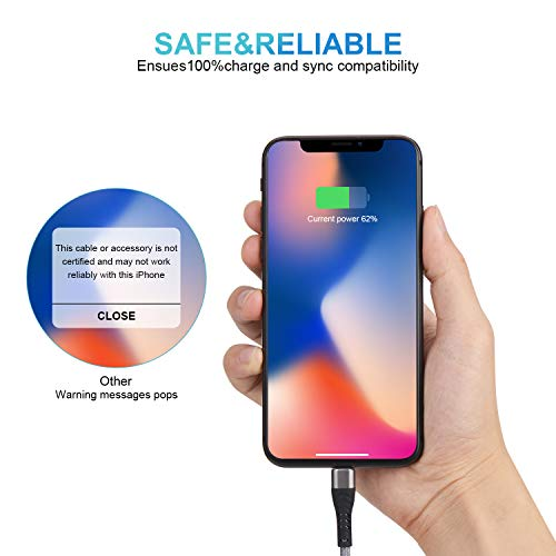 4Pack【Apple MFi Certified 】 iPhone Charger Cable, Lightning Cable 6ft, iPhone Lightning Cable,iPhone Charger Cord for iPhone 11/11Pro/11Max/ X/XS/XR/XS Max/8/7/6/5S/SE/iPad Mini,More(Silver)