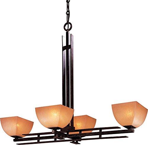 (Minka Lavery Island Chandelier Pendant Lighting 1274-357, Lineage Glass 1 Tier Dining Room, 4 Light, 400 Watts, Iron )