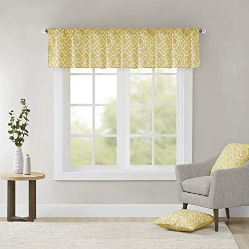 Delray Printed Diamond-Rod Pocket Valance , Contemorary Valances for Windows , 50X18 , Yellow