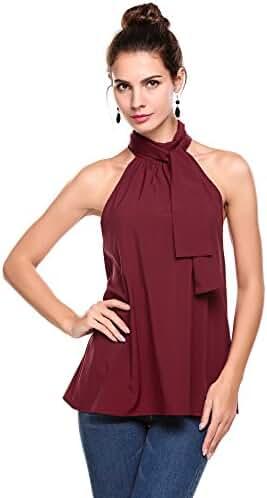 Meaneor Women's Summer Chiffon Sleeveless Office Blouse Tank Shirt Halter Neck Tie Back Solid Tops