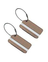 Set of 2 Aluminum Metal Travel Suitcase Luggage Tags Labels Bag ID Name Address Tag Label with Screw Chain, Coffee