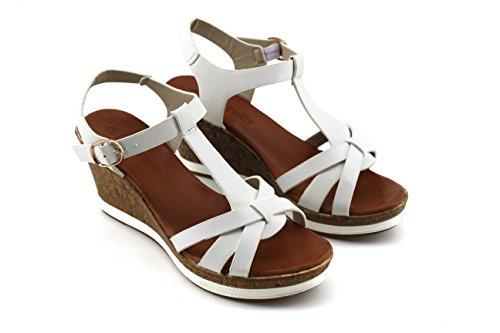 Modelisa - Sandalia Cuña Plataforma Mujer Blanco