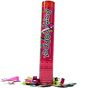 (3 Pack) Large (12 Inch) Confetti Cannons Air Compressed Party Poppers Indoor and Outdoor Safe Perfect For Any Party New Years Eve or Wedding Celebrations Shoot Streamers 10 ft