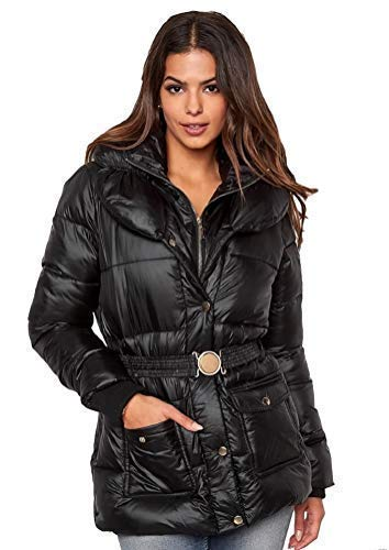 Grande taille 10-24 UK Dames femmes effet mouill noir brillant hiver veste matelasse 18/20 Uk