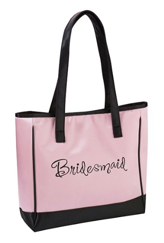 Lillian Rose Pink Embroidered Bridesmaid Tote Bag 13'' X 14'' Set of 2 by Lillian Rose