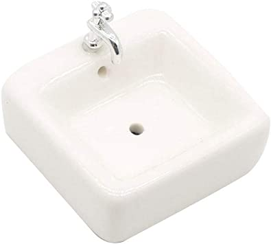1//12 Miniature White Wash Basin Sink for Dollhouse Bathroom Model Accessory