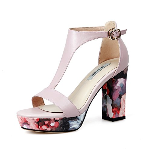 Mujer Vespertino Nvxie Rosado Sandalias Tacón Para 35 42 Pink Boda Zapatos T correa Tamaño Cuero Bloquear Negro Mujeres Strappy Fiesta OqpwrOZ