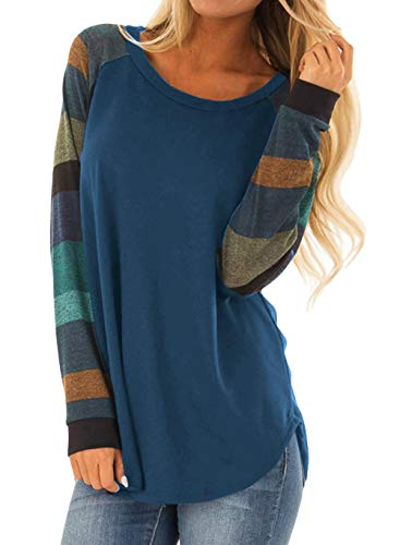 Fall Tunic Shirts Women Fall Fashion Tops Casual Loose Color Block Long Sleeve Tunics Striped Patchwork Round Neck Tee Shirt Tops Medium Dark Blue -