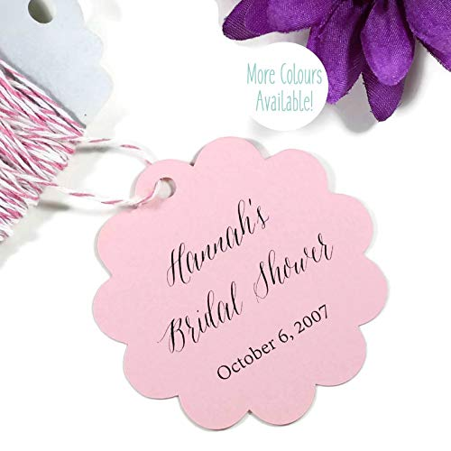 Personalized Light Pink Thank You Scalloped Tags - Bridal Shower Favors (Set of 20)