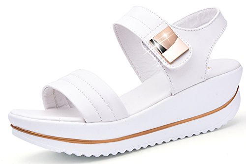 dac3293dedb YZHYXS Womens Platform Sandals for 2018 Summer White Shoes Fashion Comfort  Ladies Walking Sandal Size 9 (825 White 42)