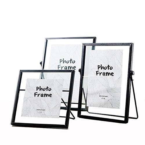 ZONYEO Set of 3 Glass Photo Frame Collection Metal Geometric Picture Frame Decor with Plexiglas Cover Includes 4