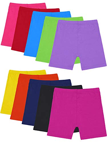 Resinta 10 Pack Dance Shorts Girls Bike Short Breathable and Safety 10 Color (Color 4, 8-10T)