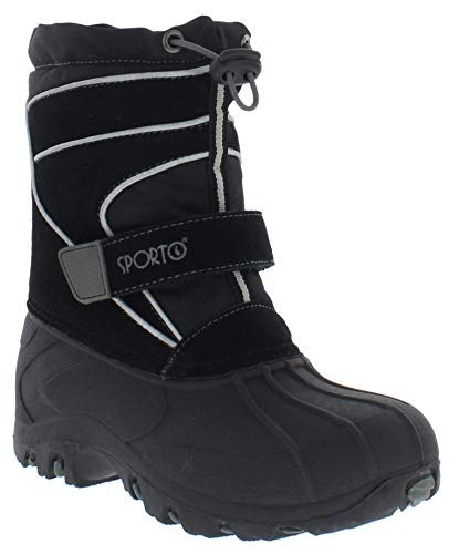 Sporto Boys and Girls Blizzard Snow Boot, Black/Grey, 3 M US