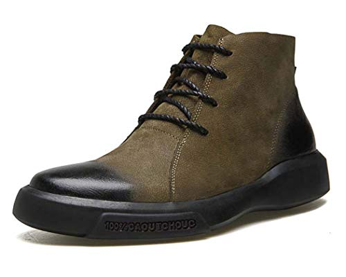 Mens Martin Boots 2018 Autunno New Fashion Casual Lace Up Chelsea Retro Shoes,Khaki,39EU