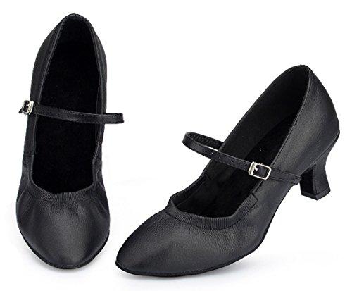Tda Femmes Mary Janes Boucle Élastique Bout Pointu Talon Bas Chaussures De Danse Latine Noir