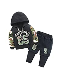 Mud Kingdom Trendy Boys' Color-block Hooded Fleece Sweatshirts and Sweatpants Sets