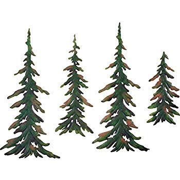 (CT DISCOUNT STORE Forever Green Metal Wall Pine Tree Forest ; Transform Your Room Into A Get Away Cozy Woodland Pine Lodge Decor)