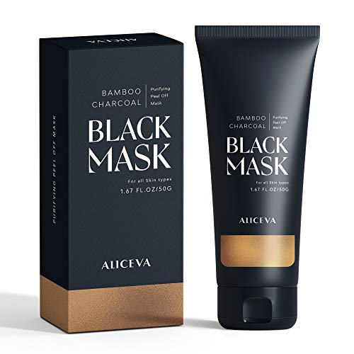 Aliceva Black Mask, Blackhead Remover Mask, Charcoal Peel Off Mask, Charcoal Mask, Charcoal Face Mask for All Skin Types with Brush - 50 Gram Pack (Best Chemical Peel For Blackheads)