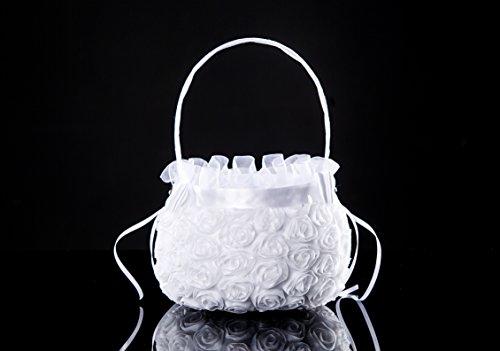 Lady Bella Wedding workshop Lace flower girl basket, White lace basket, Simple flower girl bag, Stiffened crochet wedding lace, Classic white lace basket ()