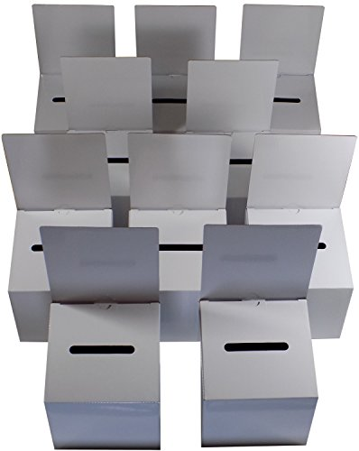 10 Pack Ballot Boxes Medium Size Cardboard Glossy White with Blank Labels ()