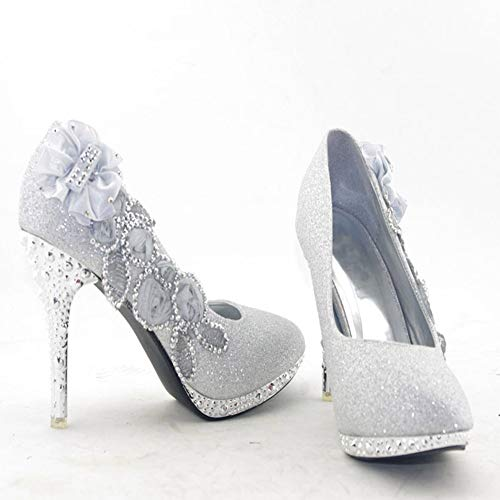 2087112b3a2f getmorebeauty Women s Silver Lace Flower Pearls Closed Toes Wedding Shoes 9  ...