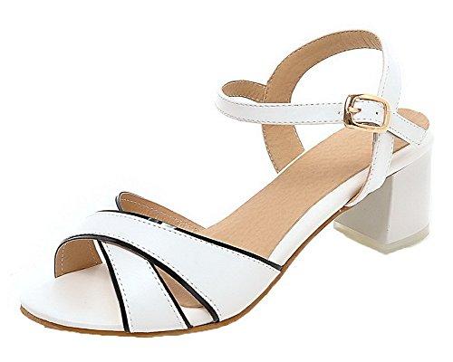 à Talon GMBLA013132 Sandales Boucle Femme Ouverture AgooLar Blanc Correct d'orteil aUOxR