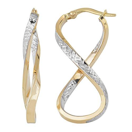 14k Two-Tone Gold Infinity Hoop Earrings by Kooljewelry