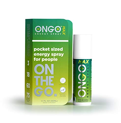 ONGO Energy Spray MAX - Caffeinated, 1 Bottle Equivalent to 18 Energy Drinks*- with Natural Caffeine, Vitamins B3, B6, B12, Taurine - Sugar Free - Instant Energy Boost - Made in The USA*!