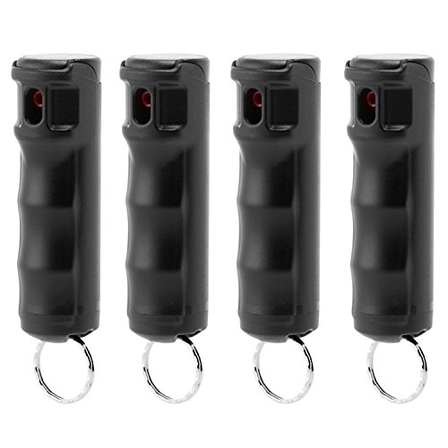 Mace Police Strength Pepper Spray with Invisible UV Identifying Dye, Keyguard Hard Case Flip Top with Key Ring and Safety Trigger, 10 Blast Stream of Up to 10 Feet (Security) (Black 4-Pack)