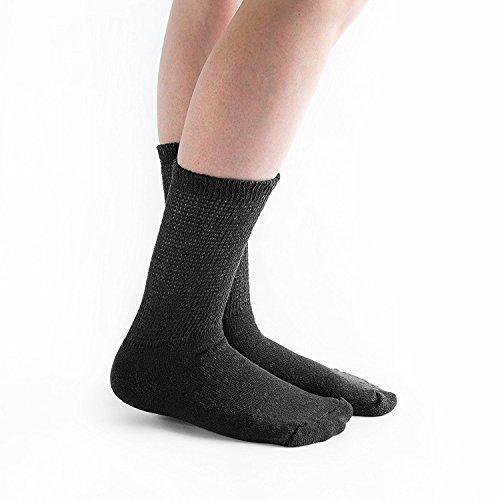 Doc Ortho Loose Fit Diabetic Crew Socks: Black, Large (3 Pairs)