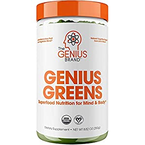 Gut Health Shop 413bVRceabL._SS300_ Genius Super Greens Powder Nootropic Supplement - Organic Spirulina Powder w/ Lions Mane, Kale, and Antioxidants…