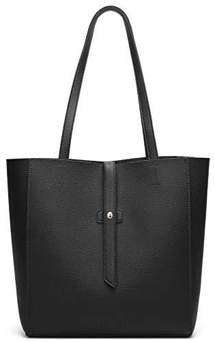 Dreubea Women's Large Tote Shoulder Handbag Soft Leather Satchel Bag Hobo Purse Black (Leather Black Hobo Bag)