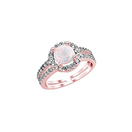 Halo Split Shank Wedding Ring Lab White Opal - Split Shank Wedding Band
