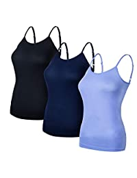 Ruxia Women's Basic Cami Tanks Adjustable Spaghetti Strap Assorted Colors 3 Pack