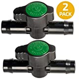 in-Line Coupling Barbed Ball Valve 16mm for 1/2 and 5/8 inch Tubing (.570 to .620 ID) 2-Pack - Regulate Water Flow/Shut Off in Aquariums, Hydroponics and Drip Irrigation