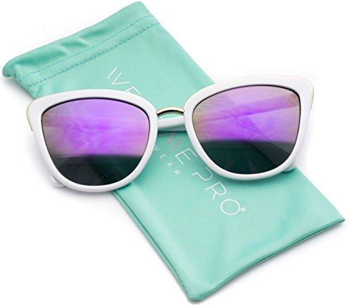 Womens Cat Eye Mirrored Revo Reflective Lenses Oversized Cateyes Sunglasses (White Frame / Mirror Purple, - Sunglasses Women White