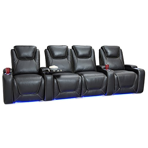 Seatcraft Equinox Home Theater Seating Power Recline Leather (Row of 4 Loveseat, Black)