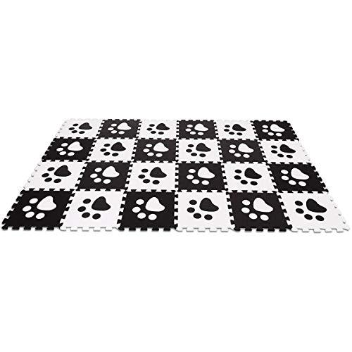 NanaPluz 24Pcs Black&White Interlocking Exercise Mat Baby Kids Protection Puzzle Carpet Floor with Ebook