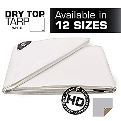 10X12 Multi-Purpose White Heavy Duty DRY TOP Poly Tarp (10'x12')