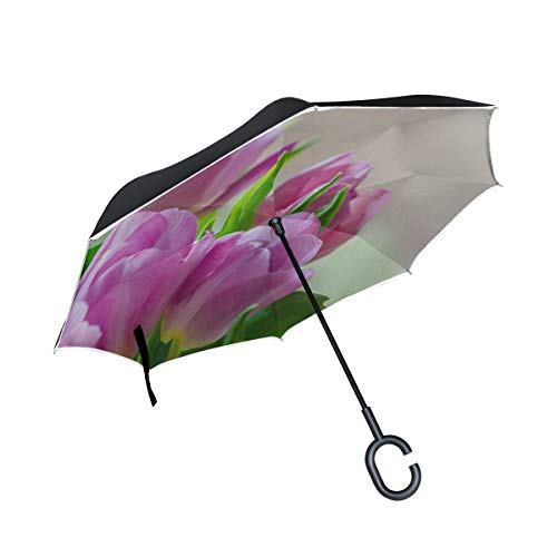 Double Layer Inverted Tulips Early Bloomer Spring Blossom Bloom Flower Umbrellas Reverse Folding Umbrella Windproof Uv Protection Big Straight Umbrella For Car Rain Outdoor With C-shaped Handle