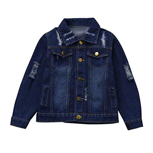 sunbona Toddler Baby Boys Girls Hole Washed Denim Jacket Outwear Puffer Parka Coat Clothes (Dark Blue, 3T(2~3years))
