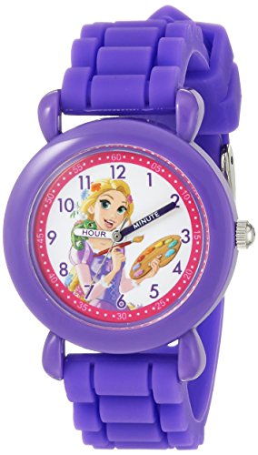 Disney Girl's 'Princess' Quartz Plastic and Silicone Casual Watch, Color:Purple (Model: WDS000147)