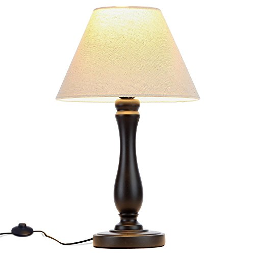 Wood Base Table Lamp - Brightech Noah LED Side Bedside Table & Desk Lamp: Traditional Elegant Black Wood Base, Neutral Shade & Soft, Ambient Light for Bedroom Nightstand, Living Room, Office; Incl. LED Bulb, Cord