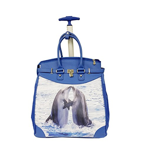 Coastal Dolphin Couple Design Carry On Rolling Foldable Laptop Tote, Nautical Softsided Animal Fish Pattern, Multi Compartment, Fashionable, Checkpoint Friendly Soft Travel Bag, Blue, Grey, Size 14'' by S & E