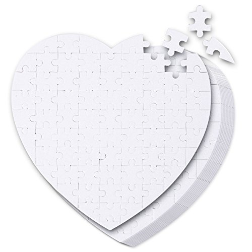 Blank Puzzle - 10-Pack White Jigsaw Puzzles in Heart-Shaped for DIY, Kids Color-In Crafts Projects, Weddings, 75 Pieces Each, 7.5 x 7.5 Inches (Team Colors Personalized Invitations)