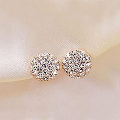 Women's Fashion Elegant Circle Crystal Rhinestone Ear Studs Earrings Jewelry Ameesi