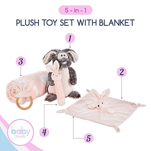 Baby Brielle 5 Piece Bunny Essentials Stuffed Toy Gift Set with Plush Fleece Blanket, Security Soothing Lovey, and Rattles with Greeting Card for Girls, Pink