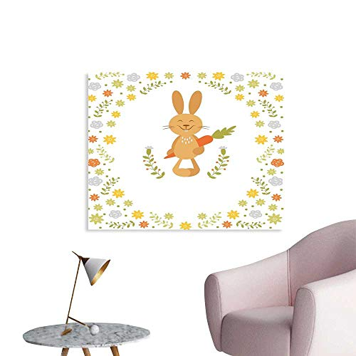 J Chief Sky Funny Wall Picture Decoration Cute Summer Illustration with Smiling Little Rabbit Carrots and Flowers Happy Bunny Wall Stickers for Kids Room W24 xL20 -