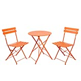 Finnhomy 3 Piece Steel Folding Table and Chair Set, w/Safe Lock for Indoors and Outdoors Bistro Table Chair Sets,Backyard/Bistro/Patio/Lawn, Orange