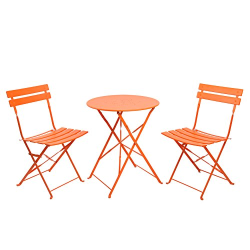 Finnhomy 3 Piece Steel Folding Table and Chair Set, w/Safe Lock for Indoors and Outdoors Bistro Table Chair Sets,Backyard/Bistro/Patio/Lawn, Orange by Finnhomy